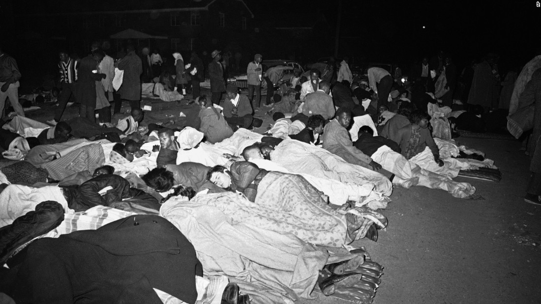 Protesters sleep on a Selma street on March 11.