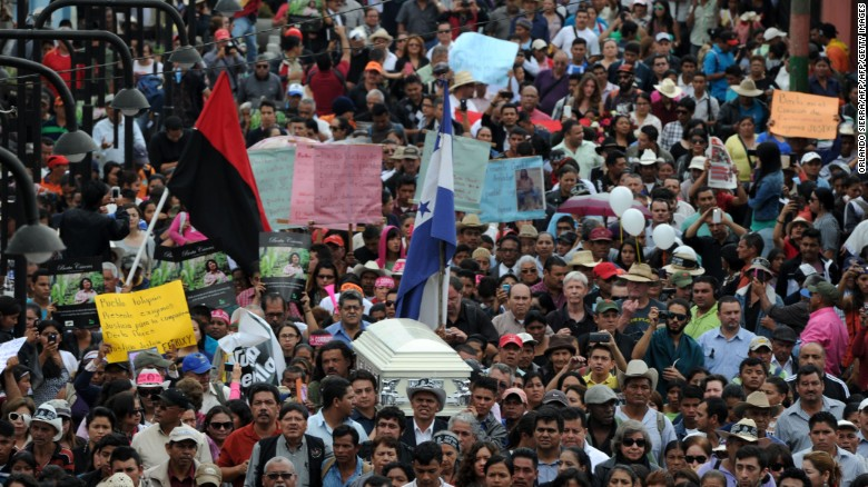Thousands attend the funeral of  Cáceres in La Esperanza, Honduras, on March 5, 2016.