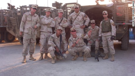 Vance, bottom right,  re-enlisted in the Army after the attacks on 9/11.