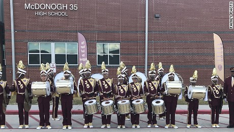 The McDonogh 35 High School band drum line.