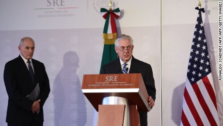 US Secretary of State Rex Tillerson speaks during a joint press conference with Mexican Foreign Minister Luis Videgaray (out of frame), as US Homeland Security chief John Kelly (L) looks on, at the Foreign Ministry building in Mexico City on February 23, 2017. Mexico vowed not to let the United States impose migration reforms on it as its leaders prepared Thursday to host US officials Tillerson and Kelly who are cracking down on illegal immigrants. / AFP / Ronaldo SCHEMIDT        (Photo credit should read RONALDO SCHEMIDT/AFP/Getty Images)