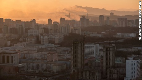 A general view shows the Pyongyang city skyline on November 28, 2016. / AFP / Ed JONES        (Photo credit should read ED JONES/AFP/Getty Images)