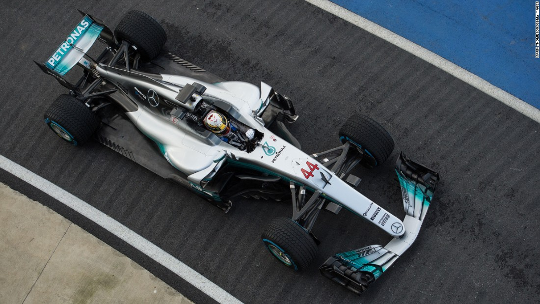 Mercedes launched its new car at the UK's Silverstone circuit. Both Bottas and Hamilton (pictured) took the W08 for a spin on Thursday.