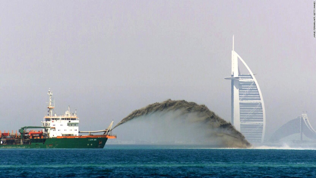 The dredger barge pictured pumps sand onto the sea to create the Palm Islands of Dubai -- one of the city's most extravagant projects and the world's largest artificial islands, built in the noughties.