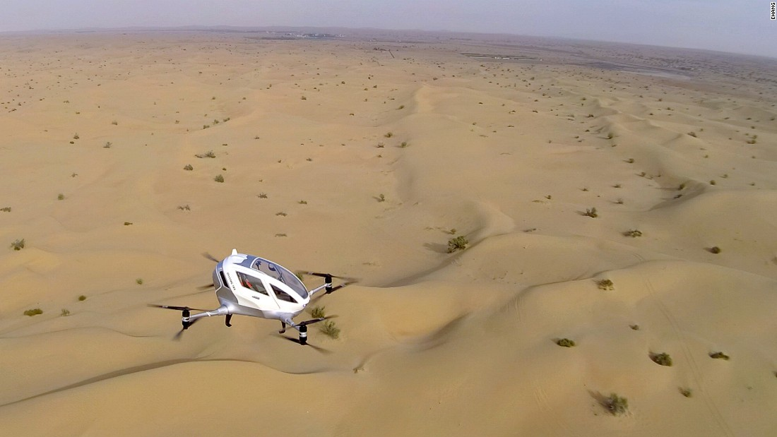 The so-called Autonomous Aerial Vehicle (AAV) has been seen hovering over the sand dunes at an airfield in Dubai during test flights this winter.