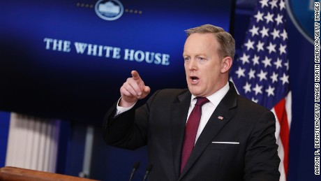 WASHINGTON, DC - FEBRUARY 23: White House Press Secretary Sean Spicer holds the daily briefing February 23, 2017 in at the White House in Washington, DC. Spicer addressed U.S. President Donald Trump's recent action on transgender bathroom in public schools. (Photo by Aaron P. Bernstein/Getty Images)