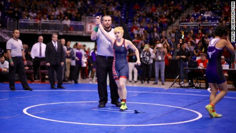 Mack Beggs is declared the winner at the UIL wrestling state championship on February 25, 2016.
