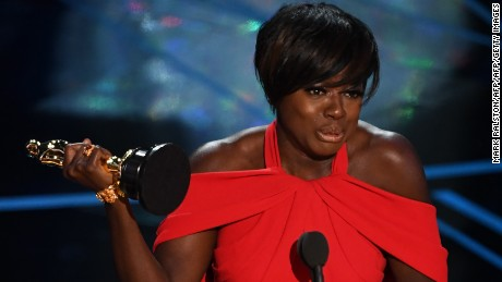 "Viola Davis after she won the award for best supporting actress in ""Fences."""