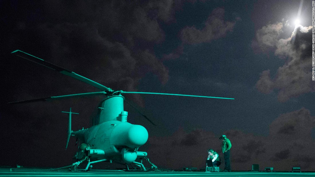 Sailors prepare an MQ-8B Fire Scout unmanned helicopter prior to performing ground turns aboard the littoral combat ship USS Coronado on February 10.