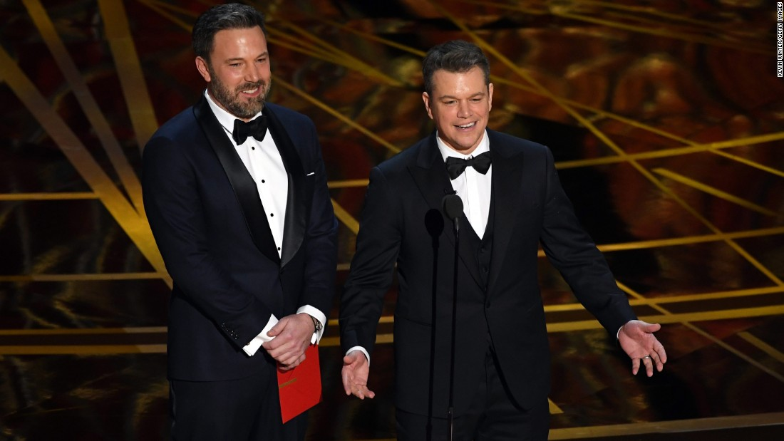 "Ben Affleck, left, and Matt Damon present the Oscar for best original screenplay. That award went to Kenneth Lonergan for ""Manchester by the Sea."""