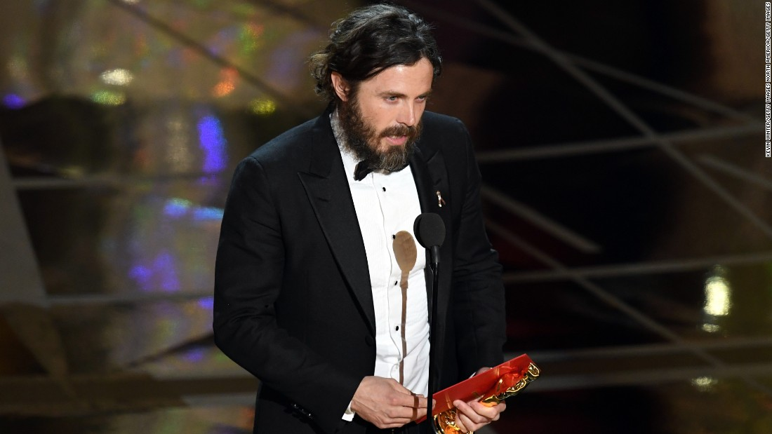 "Casey Affleck won for his tragic and stoic performance in ""Manchester By The Sea."" At the beginning of the speech, he thanked fellow nominee Denzel Washington for being someone who ""taught him how to act."""
