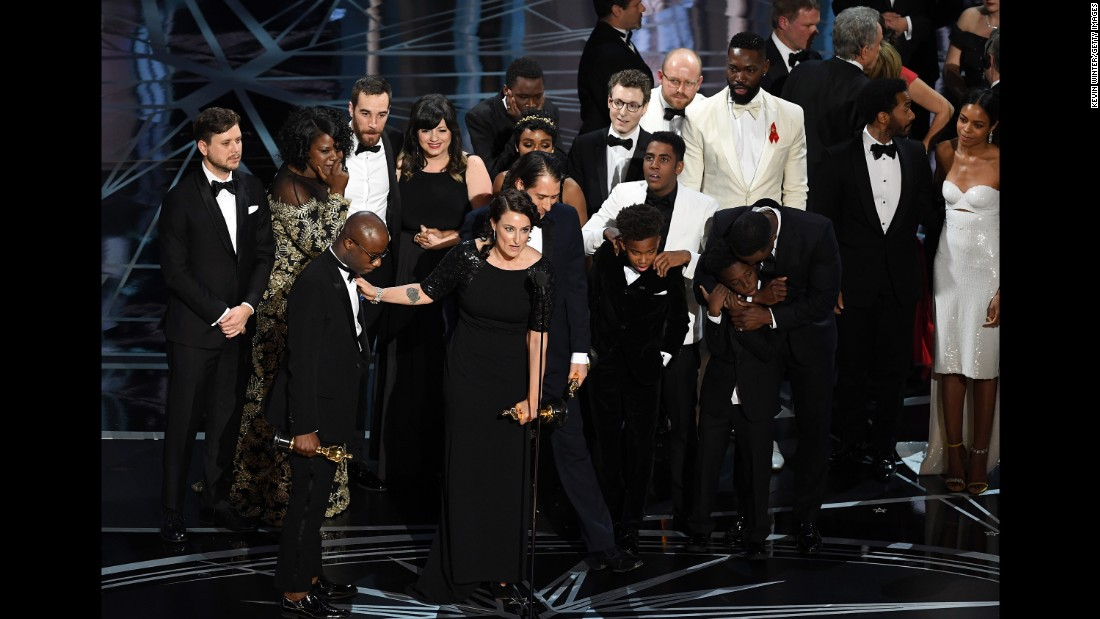 "The cast and crew of ""Moonlight"" accept the best picture Oscar during <a href=""http://www.cnn.com/2017/02/26/entertainment/oscars-2017/index.html"" target=""_blank"">the Academy Awards</a> on Sunday, February 26. The winner was initially announced as ""La La Land"" by presenter Faye Dunaway, but moments later it was revealed that there was a mistake and ""Moonlight"" had actually won."