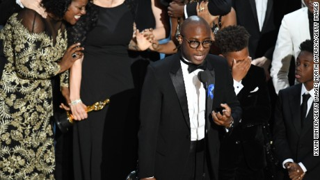 HOLLYWOOD, CA - FEBRUARY 26:  (L-R) Editor Joi McMillon, writer/director Barry Jenkins, actors Jaden Piner and Alex R. Hibbert accept Best Picture for 'Moonlight' onstage during the 89th Annual Academy Awards at Hollywood & Highland Center on February 26, 2017 in Hollywood, California.  (Photo by Kevin Winter/Getty Images)