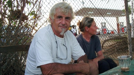 German national Jurgen Kantner and his partner, Sabine Merz, in 2009, months after they were freed by Somali pirates.