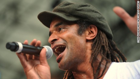 French pop star Yannick Noah performs during the Central Park SummerStage concert in New York on June 21, 2009, as part of the worldwide Fete de la Musique, turning public spaces into music stages on the summer solstice each year. AFP PHOTO/STAN HONDA (Photo credit should read STAN HONDA/AFP/Getty Images)