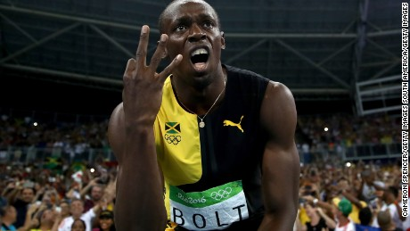 Usain Bolt celebrates after winning the men's 4x100m relay at Rio 2016