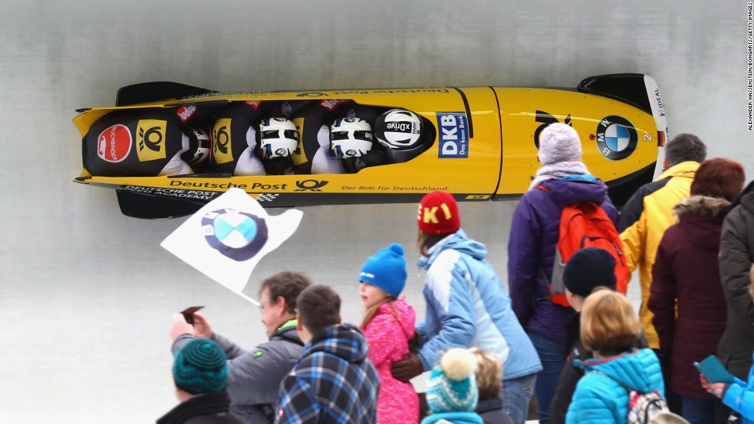 A German bobsled team, piloted by Francesco Friedrich, competes at the World Championships in Konigssee, Germany, on Sunday, February 26. It tied for gold with another German team.