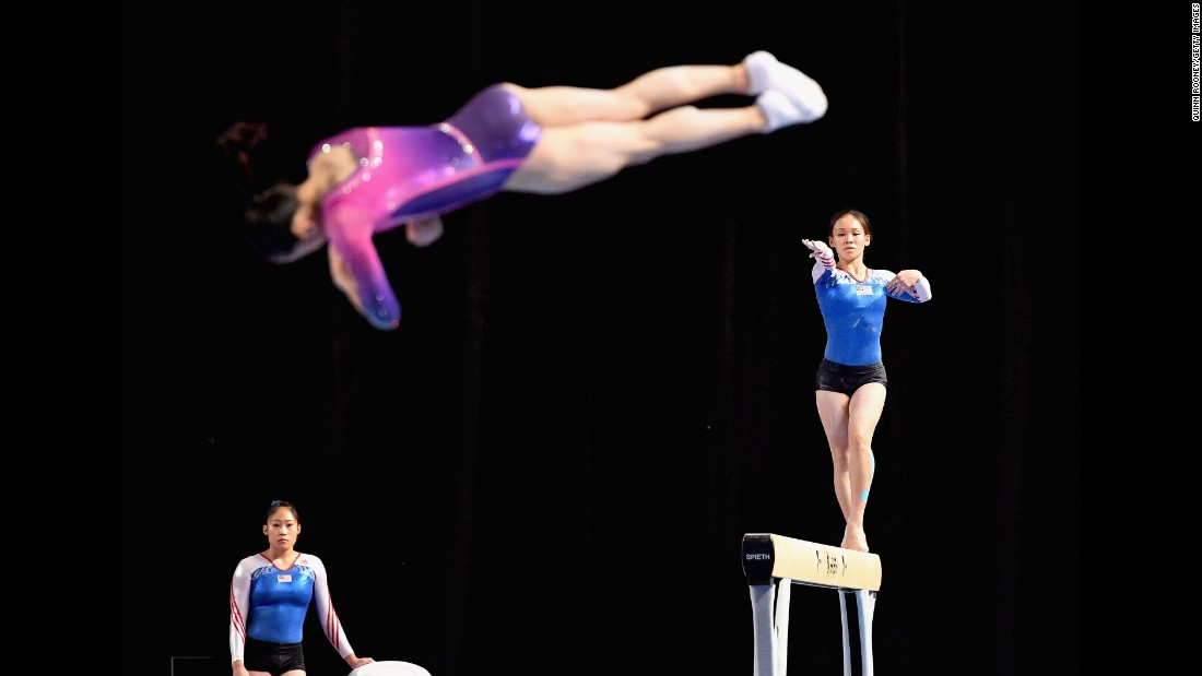 Gymnasts practice at a World Cup event in Melbourne on Tuesday, February 21.