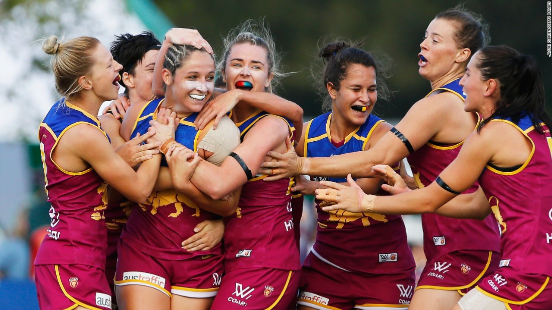 The Brisbane Lions celebrate Jordan Membrey's goal during an Australian Football League match against Greater Western Sydney on Saturday, February 25. Brisbane won by 34 points.