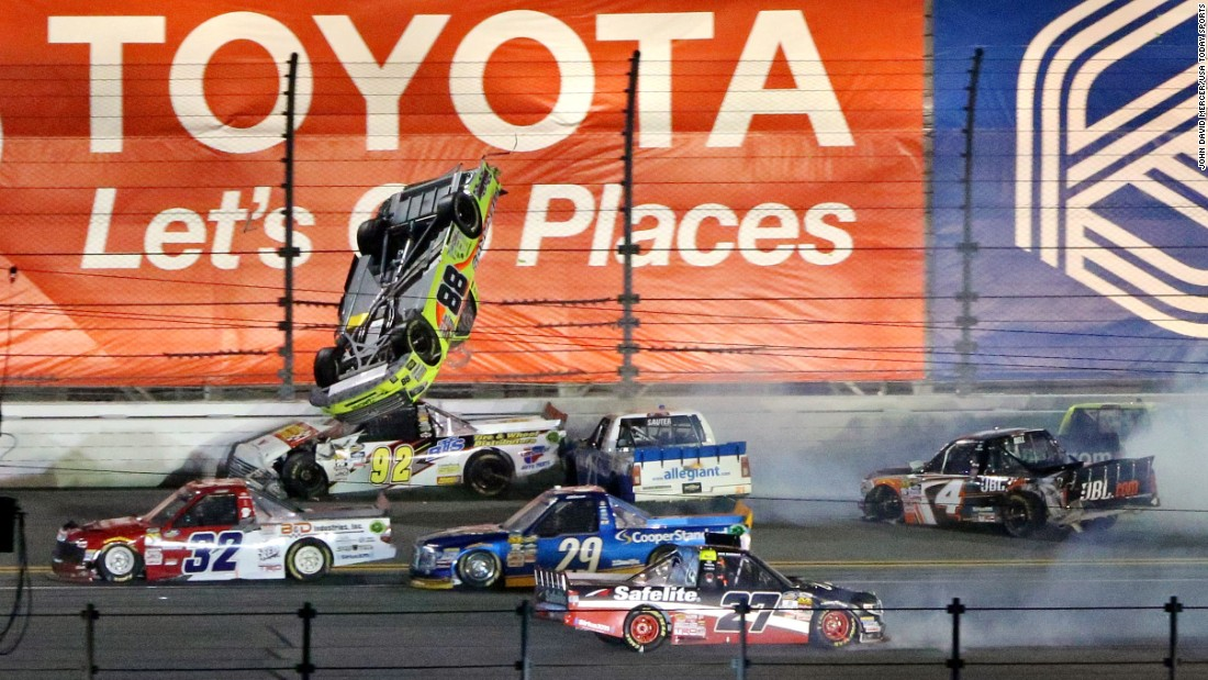 NASCAR driver Matt Crafton goes airborne during a wreck in the Truck Series race in Daytona Beach, Florida, on Friday, February 24. The vehicle landed on its wheels and Crafton was unhurt.