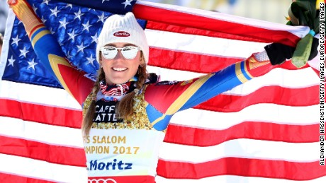 ST MORITZ, SWITZERLAND - FEBRUARY 18:  Mikaela Shiffrin of The United States celebrates winning the gold medal after the flower ceremony in the Women's Slalom during the FIS Alpine World Ski Championships on February 18, 2017 in St Moritz, Switzerland.  (Photo by Alexander Hassenstein/Getty Images)