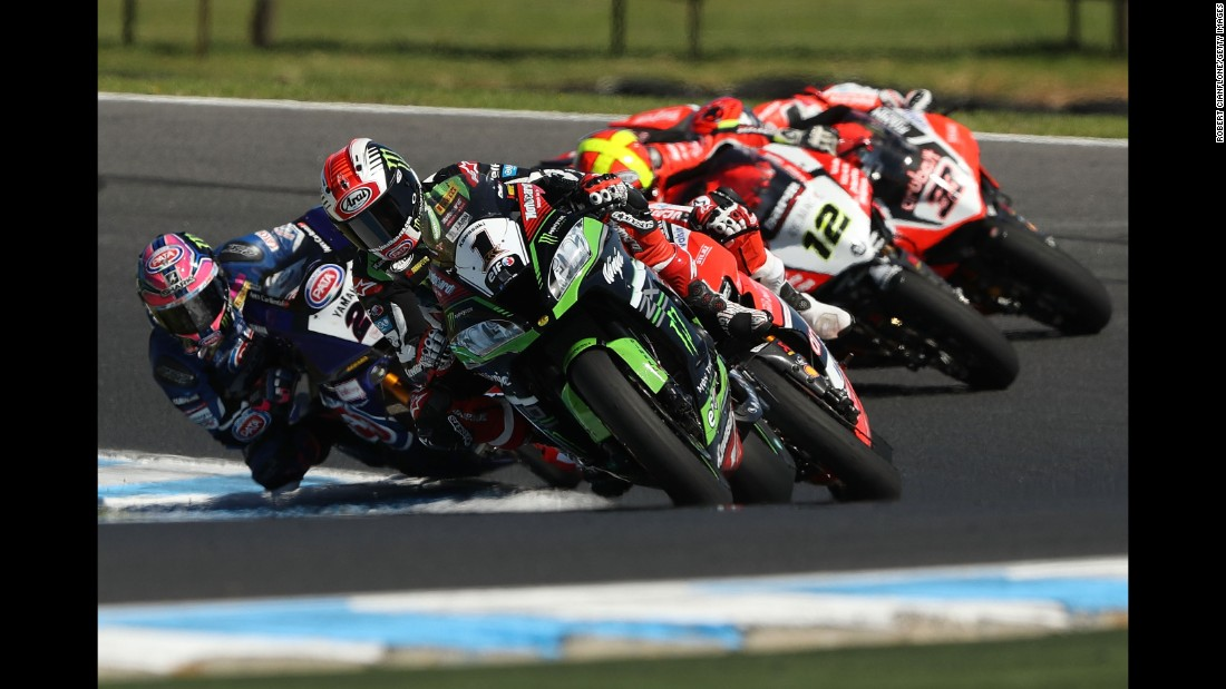 Jonathan Rea leads the pack during a Superbike race in Phillip Island, Australia, on Sunday, February 26.