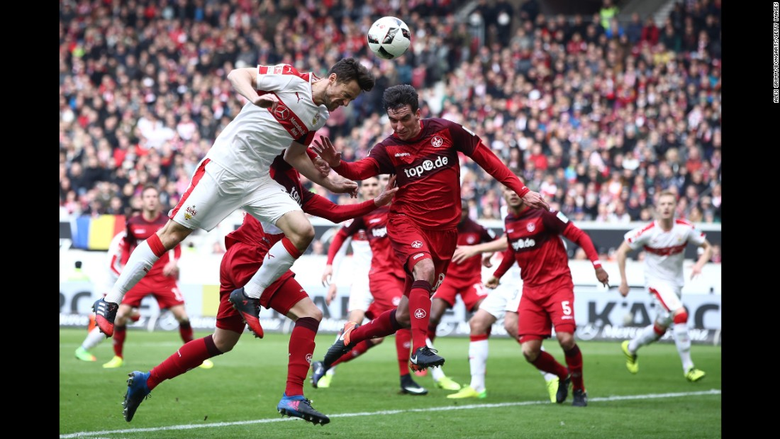 "Stuttgart's Christian Gentner, left, heads the ball during a German league match against Kaiserslautern on Sunday, February 26. <a href=""http://www.cnn.com/2017/02/20/sport/gallery/what-a-shot-sports-0221/index.html"" target=""_blank"">See 26 amazing sports photos from last week </a>"