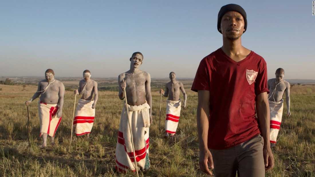 "Nakhane Toure as Xolani with young Xhosa initiates in gay love story ""The Wound."" <em>(To find out more about ulwaluko and other tribal traditions, scroll through the gallery.)</em>"