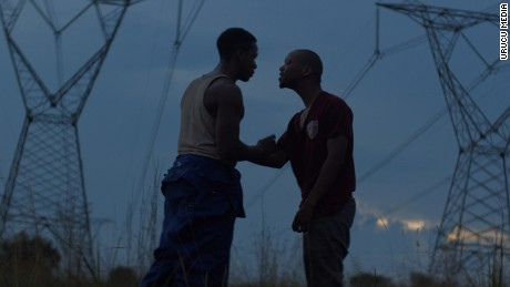 "Vija (Mantsai, left) and Xolani (Toure, right) clash in ""The Wound."""