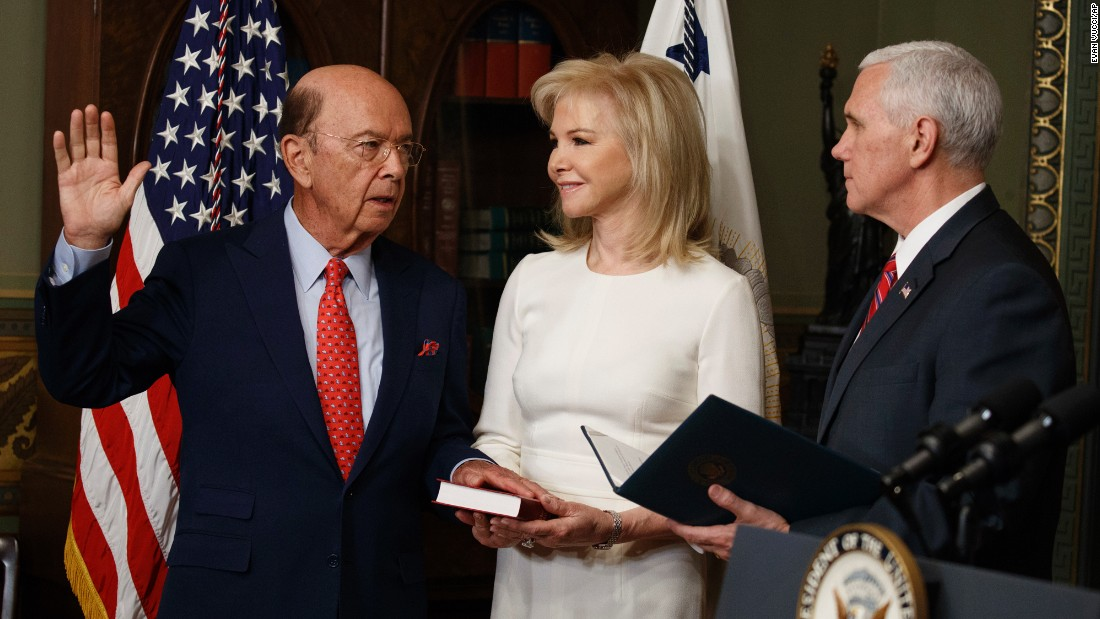 "Pence swears in new Commerce Secretary Wilbur Ross as Ross' wife, Hilary, stands by on Tuesday, February 28. The billionaire <a href=""http://money.cnn.com/2017/02/27/investing/wilbur-ross-commerce-secretary-confirmation-senate/"" target=""_blank"">was confirmed by the Senate</a> by a vote of 72-27."