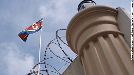 A flag flies over the North Korean embassy in Kuala Lumpur.