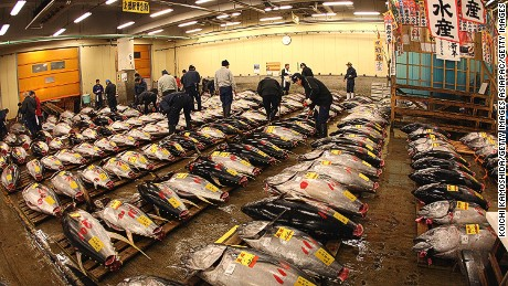 Tsukiji fish market handles close to 3,000 tons of fish a day.