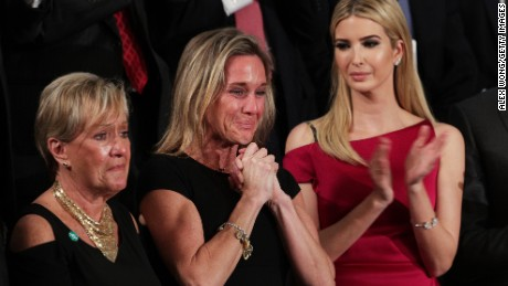 Widow of Fallen Navy Seal, Senior Chief William Owens, Carryn Owens and first lady Melania Trump attend a joint session of the U.S. Congress with U.S. President Donald Trump on February 28, 2017 in the House chamber of  the U.S. Capitol in Washington, DC.