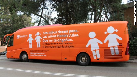 The Madrid Municipal Police has stopped a bus that was circulating around the Spanish capital with what authorities called a transphobic message, the police said in a statement posted on Facebook on Tuesday. The bus, from conservative NGO Hazte Oír, had the message Boys have penises, girls have vulvas, do not let them fool you and if you are born a man, you are a man, if you are a woman, you will continue to be one written on its sides. According to the Hazte Oír President, the bus was meant to denounce the impositions of a gender ideology and laws of sexual indoctrination and not to discriminate or offend anyone, Mr Ignacio Arsuaga was quoted as saying in a statement on Tuesday.