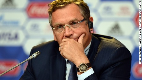 SAINT PETERSBURG, RUSSIA - JULY 24:  FIFA Secretary-General Jerome Valcke listens to questions during the Post-meeting of Organising Committee for the FIFA World Cup press conference ahead of the preliminary draw of the 2018 FIFA World Cup in Russia at Konstantin Palace on July 24, 2015 in Saint Petersburg, Russia.  (Photo by Shaun Botterill/Getty Images)
