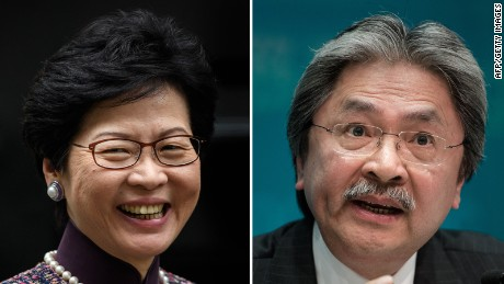 Hong Kong Chief Executive candidates Carrie Lam and John Tsang.