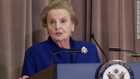 WASHINGTON, DC - SEPTEMBER 03:  Former Secretary of State Madeleine Albright delivers remarks during the ceremonial groundbreaking of the future U.S. Diplomacy Center at the State Department's Harry S. Truman Building September 3, 2014 in Washington, DC. When completed, the Diplomacy Center will be a museum and education center that will 'demonstrate the ways in which diplomacy matters now and has mattered throughout American history.'  (Photo by Chip Somodevilla/Getty Images)