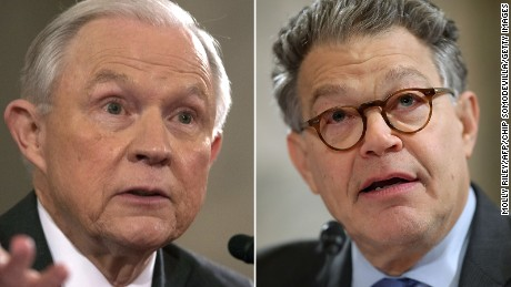Jeff Sessions and Al Franken during the Sessions confirmation hearing on January 10, 2017.