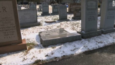A toppled headstone at the cemetery in Rochester, New York.
