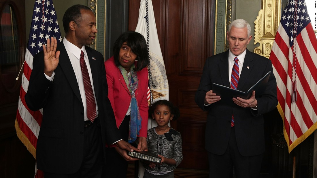 "Ben Carson is joined by his wife, Candy, and his granddaughter Tesora as he is sworn in as the secretary of housing and urban development on March 2. The renowned neurosurgeon and former presidential candidate <a href=""http://www.cnn.com/2017/03/02/politics/ben-carson-confirmed-as-hud-secretary/"" target=""_blank"">was confirmed</a> by a vote of 58-41."