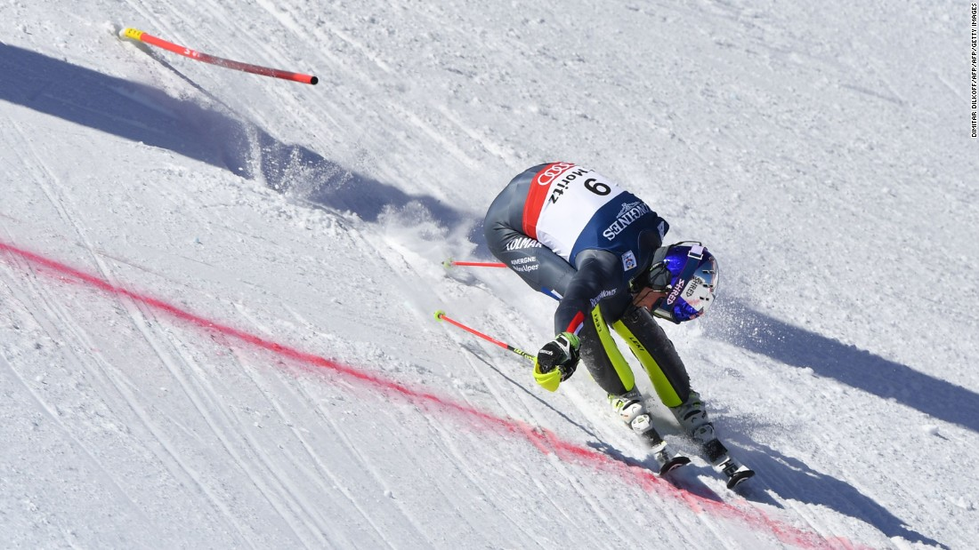 "France's Alexis Pinturault throws himself over the finish line in St. Moritz. He <a href=""http://cnn.com/2017/01/07/sport/skiing-pinturault-worley-giant-slalom/"" target=""_blank"">overtook Jean-Claude Killy's national record of World Cup wins</a> in January."