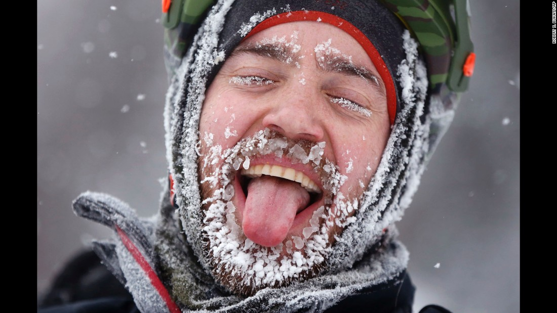 "David Cassidy enjoys the moment after finishing an 18-mile bike race in Carrabassett Valley, Maine, on Saturday, February 11. Riders at the Fat Tire Festival had to endure heavy snowfall and low temperatures as <a href=""http://www.cnn.com/2017/02/09/us/gallery/northeast-snowstorm/index.html"" target=""_blank"">the Northeast was hit with a winter storm.</a>"