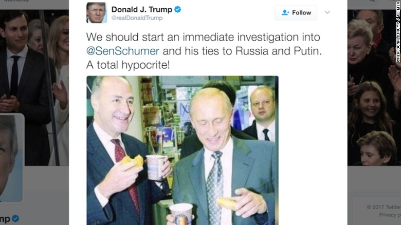 Trump tweets picture of Schumer, Putin