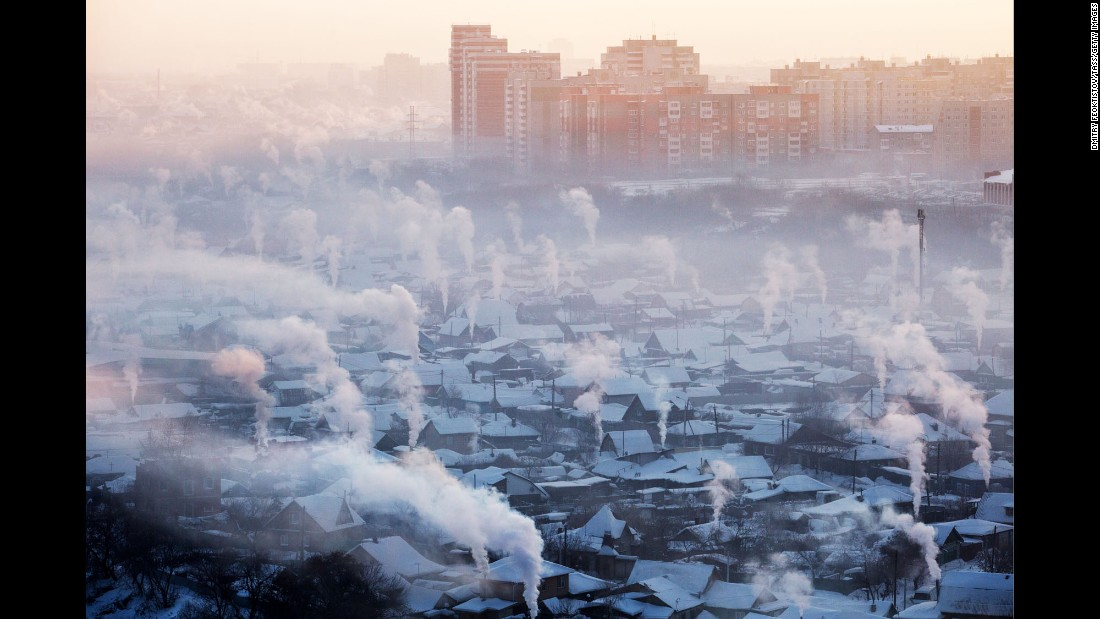 A view of Omsk, Russia, after a severe frost on Monday, February 13.