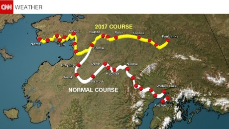 Comparison of the 2017 course and the typical race route