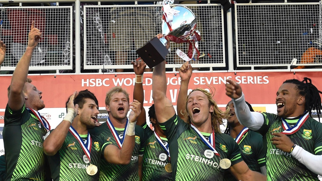 The Blitzboks celebrate victory in Vegas, where organizers have come to expect big crowds and raucous parties.