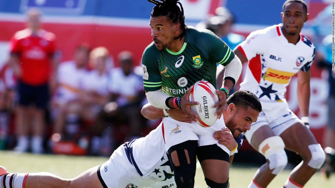 South Africa beat the United States 20-17 in the semifinals (player of the tournament Rosco Specman is pictured), and the Eagles finished third after defeating New Zealand 19-15 in the playoff.