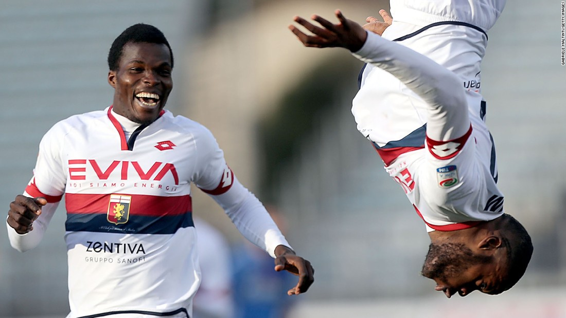 Genoa midfielder Olivier Ntcham does a flip after scoring a goal against Empoli during an Italian league match on Sunday, March 5. Genoa won 2-0.