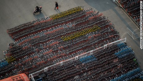 Thousands of Ofo and Mobike's bikes were impounded in Shanghai last year. Authorities said they breached parking restrictions.