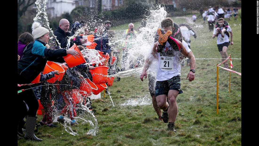 Competitors take part in the annual Wife Carrying Race in Dorking, England, on Sunday, March 5.
